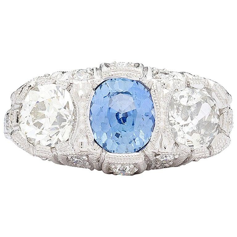 1.30 Carat GIA Certified Unheated Sapphire Diamond Platinum Ring For Sale