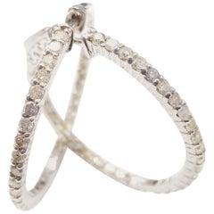 1.30 Carat Huggie Diamond Hoops Earrings 14 Karat Gold