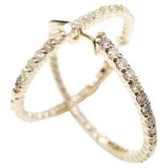 1.30 Carat Huggie Diamond Hoops Earrings 14 Karat Yellow Gold