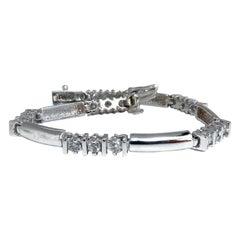 1.30 Carat Natural Diamonds Long Bar Linked Bracelet 14 Karat