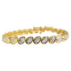 1.30 Carat Natural Diamonds Pair Cluster Link Bracelet 14 Karat Teardrops