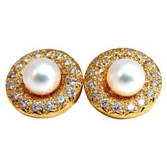 1.30 Carat Natural Diamonds South Sea Pearl Earrings 14 Karat Jackets
