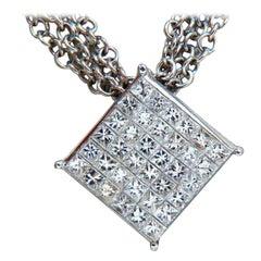 1.30 Carat Natural Princess Cut Diamonds Multistrand Necklace 14 Karat