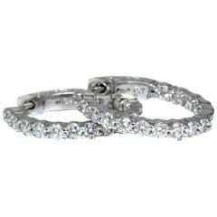 1.30 Carat Natural Round Diamonds Inside Out Hoop Earrings Button 14 Karat