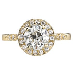 1.30 Carat Old European Cut Halo Gold Engagement Ring