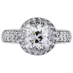 1.30 Carat Old European Diamond Double Halo Engagement Ring