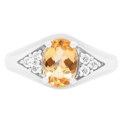 1.30 Carat Oval Imperial Topaz and White Diamond Ring 14 Karat Gold