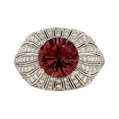 1.30 Carat Pink Tourmaline and Diamond Ring