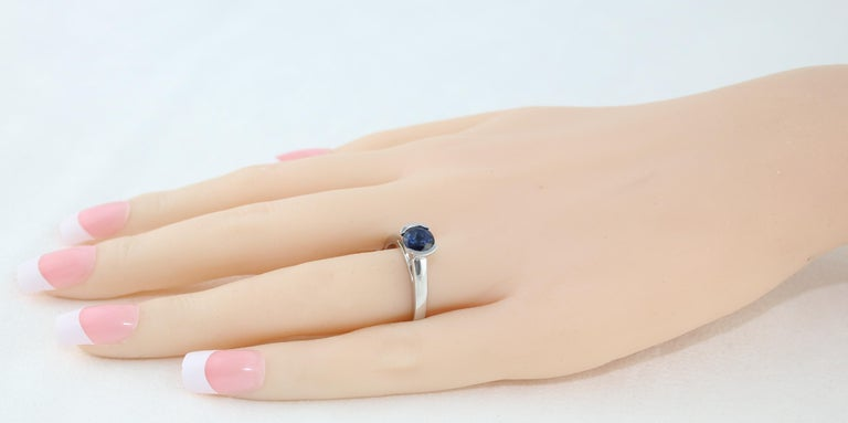 1.30 Carat Round Blue Sapphire Half Bezel Solitaire Gold Ring For Sale 1