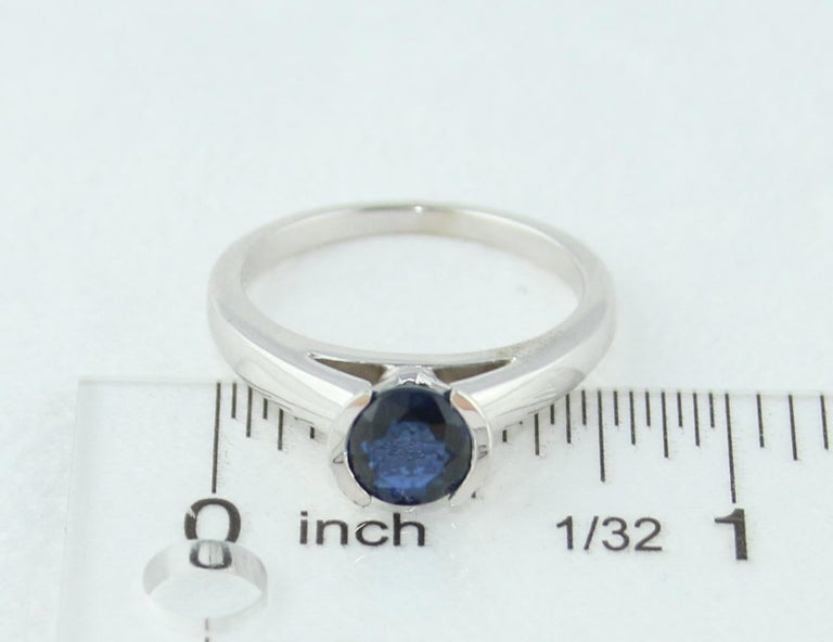 1.30 Carat Round Blue Sapphire Half Bezel Solitaire Gold Ring For Sale 2