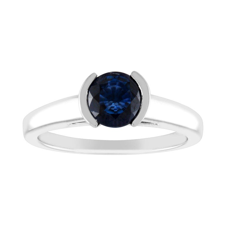 1.30 Carat Round Blue Sapphire Half Bezel Solitaire Gold Ring For Sale