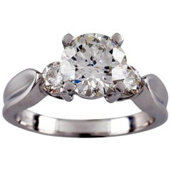 1.30 Carat Round Brilliant Diamond Platinum Engagement Ring