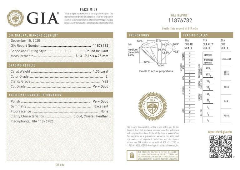 1.30 Carat Round Brilliant GIA Certified E-VS2 In Excellent Condition For Sale In Aliso Viejo, CA