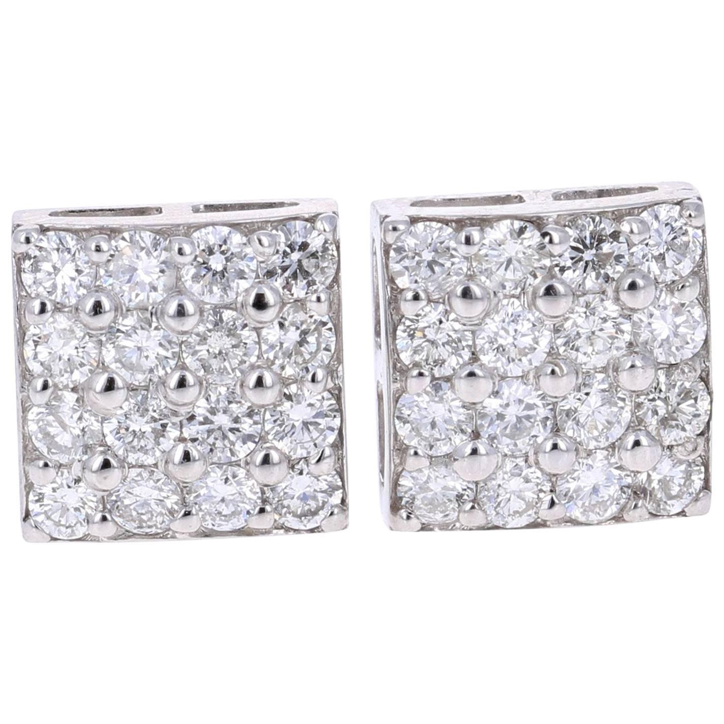 1.30 Carat Round Cut Diamond 14K White Gold Stud Earrings