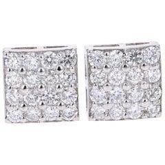 1.30 Carat Round Diamond 14 Karat White Gold Cluster Stud Earrings