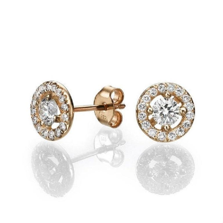 Art Deco 1.30 Carat Round Diamond Halo Earrings, Yellow Gold Diamond Halo Earrings For Sale