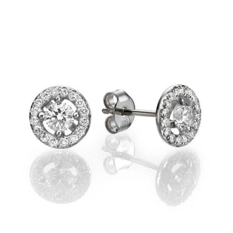 Round Cut 1.30 Carat Round Diamond Halo Earrings, Yellow Gold Diamond Halo Earrings For Sale