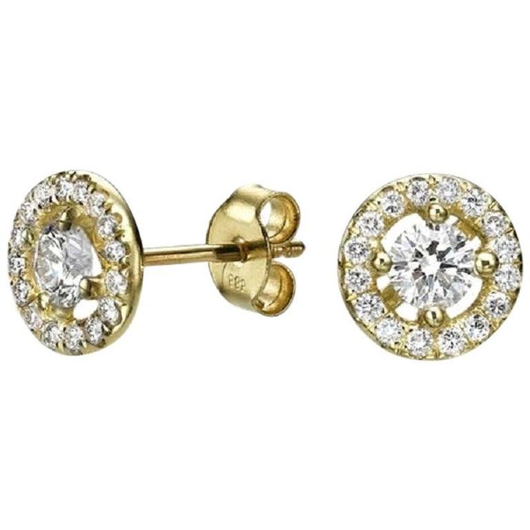 1.30 Carat Round Diamond Halo Earrings, Yellow Gold Diamond Halo Earrings For Sale