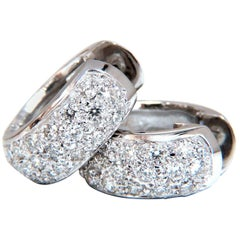 1.30 Carat Round Natural Diamond Huggie Earrings 14 Karat Bead Set