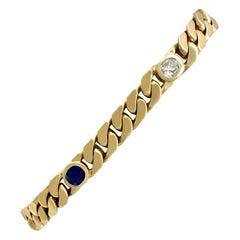 1.30 Carat Sapphire and 1.02 Carat Diamond Gold Bracelet