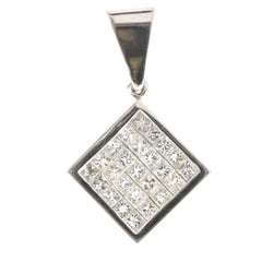 1.30 Carat Total Princess Cut Diamond Pendant in 18 Karat White Gold