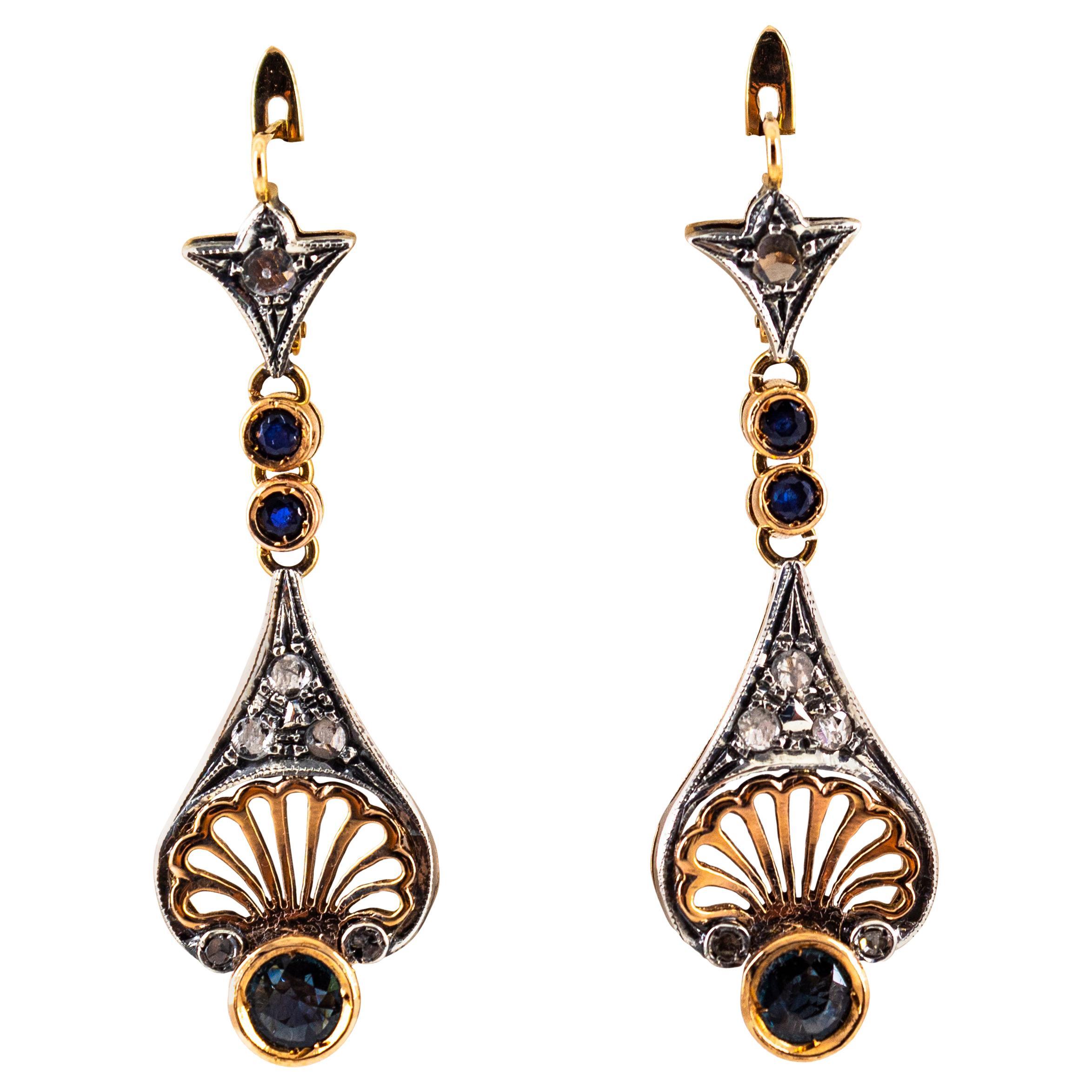 1.30 Carat White Rose Cut Diamond Blue Sapphire Yellow Gold Lever-Back Earrings