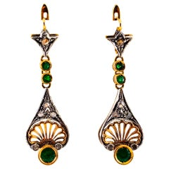 1.30 Carat White Rose Cut Diamond Emerald Yellow Gold Lever-Back Drop Earrings