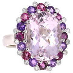 13.00 Carat Kunzite Amethyst Garnet Diamond 14 Karat White Gold Cocktail Ring