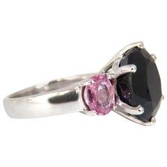 13.00 Carat Natural Black and Pink Sapphire Diamonds Ring 14 Karat White Gold