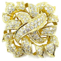 13.00 Carat Round Brilliant Cut Diamond and 18 Karat Gold French Pendant Brooch