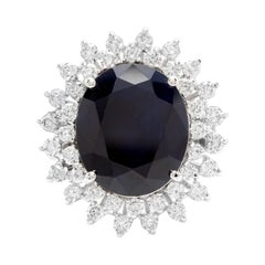 13.00 Carats Natural Sapphire and Diamond 14k Solid White Gold Ring