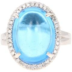 13.02 Carat Oval Cut Cabochon Blue Topaz and Diamond Ring 14 Karat White Gold