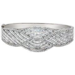 13.03 Carat Baguette and Round Diamond Bangle Bracelet