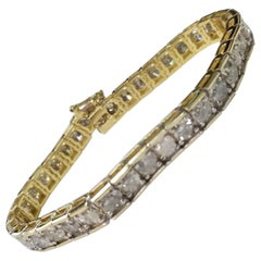 "13.05 Carat Diamond ""Tennis"" Bracelet Set in 14 Karat Yellow Gold"