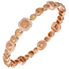 13.08 Carat Raw Diamond 18 Karat Gold Tennis Bracelet
