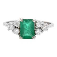 1.30ct Natural Emerald & Diamond 14k Solid White Gold Ring