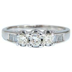 1.30 Carat Natural Princess Cut Diamonds Ring 14 Karat Classic Three