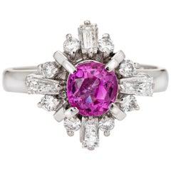 1.30ct No Heat Pink Sapphire Diamond Gemstone Ring Platinum Estate Engagement