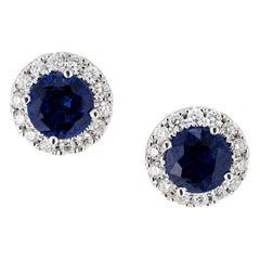1.31 Carat Blue Sapphire Diamond White Gold Stud Earrings