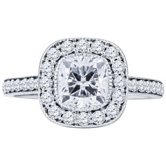 1.31 Carat Cushion Cut F SI 2 Diamond with 0.75 Carat Accent Diamonds Ring