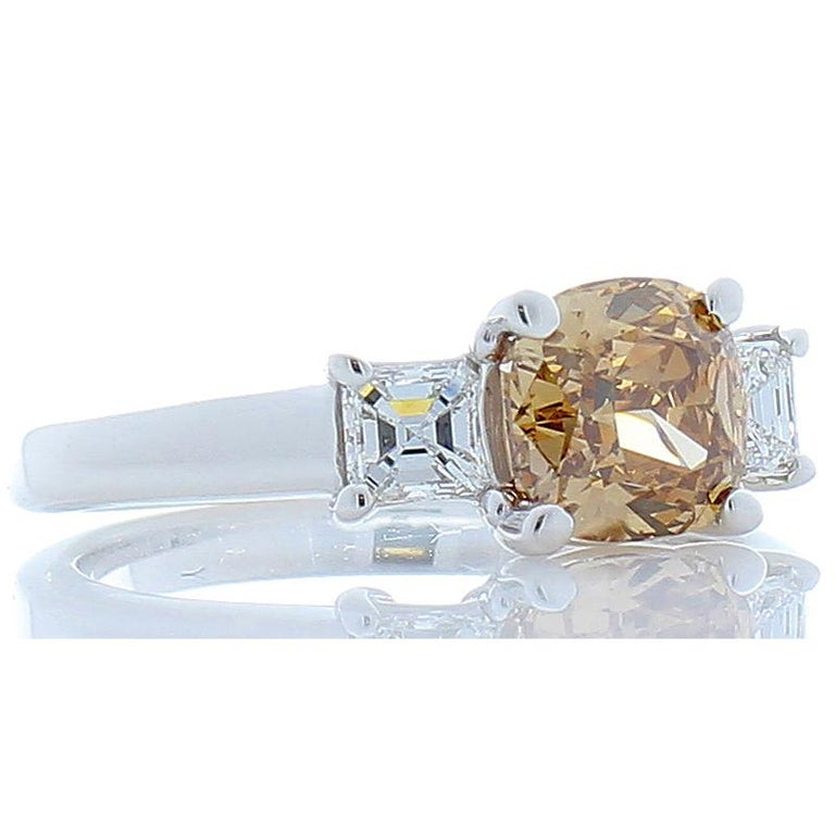 Contemporary 1.31 Carat Cushion Cut Fancy Orangy Brown Diamond Cocktail Ring in 18 Karat Gold For Sale