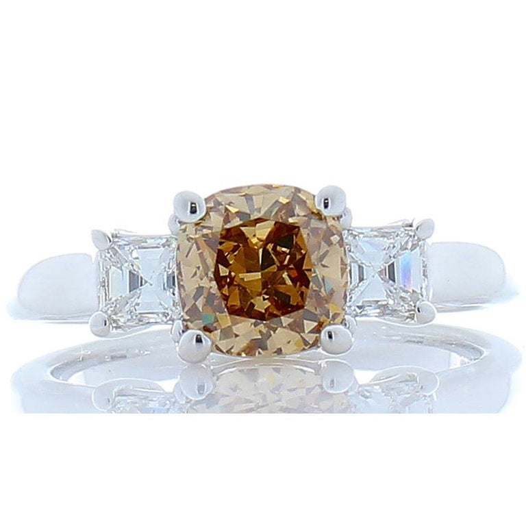 1.31 Carat Cushion Cut Fancy Orangy Brown Diamond Cocktail Ring in 18 Karat Gold For Sale 2