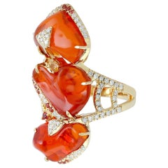 13.1 Carat Fire Opal 18 Karat Gold Diamond Ring