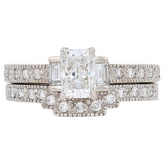 1.31 Carat Radiant Cut Diamond Ring and Wedding Band 14 Karat Gold GIA Milgrain