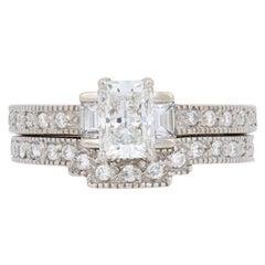 1.31 Carat Radiant Cut Diamond Ring and Wedding Band 14 Karat Gold GIA Milgrain