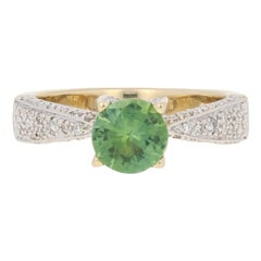 1.31 Carat Round Cut Tourmaline and Diamond Ring, 14 Karat Gold Milgrain