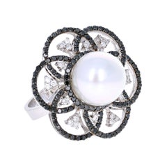 1.31 Carat South Sea Pearl Black Diamond Cocktail Ring in 14 Karat White Gold