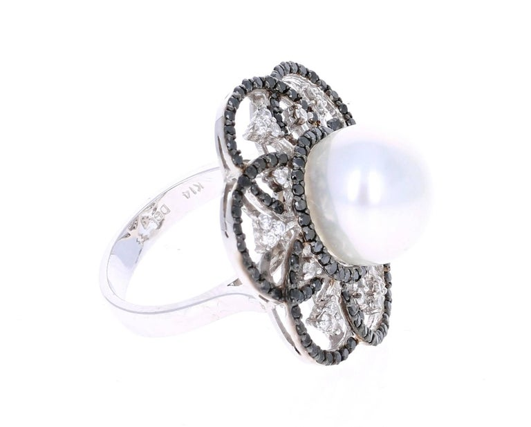 Modern 1.31 Carat South Sea Pearl Black Diamond Cocktail Ring in 14K White Gold For Sale