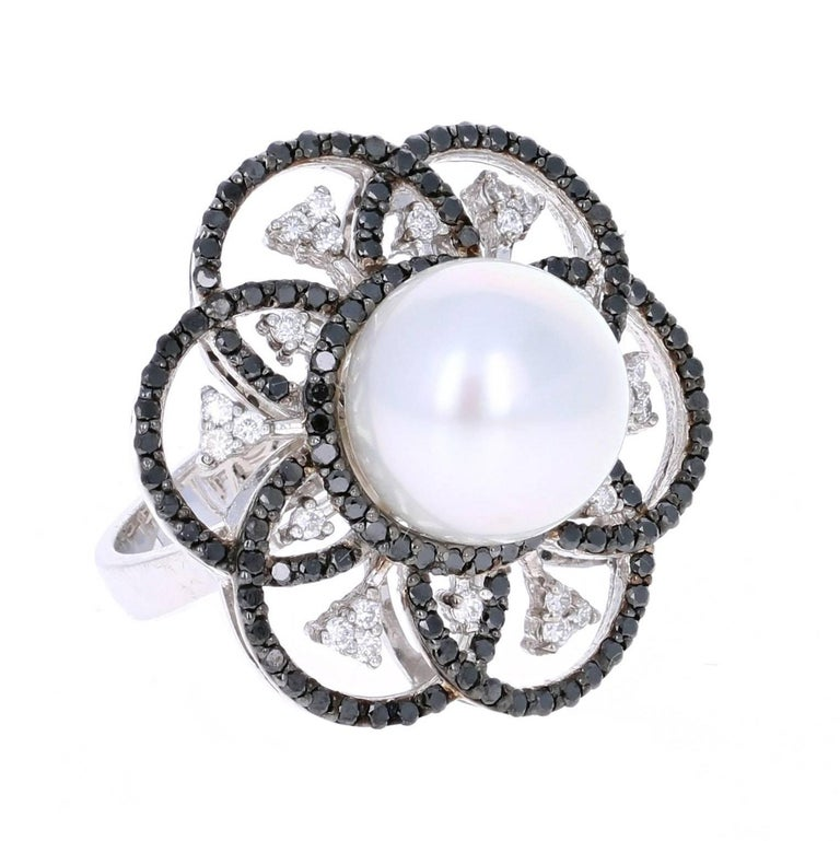 1.31 Carat South Sea Pearl Black Diamond Cocktail Ring in 14K White Gold For Sale