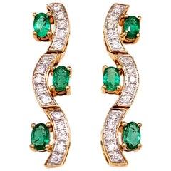 1.31 Carat Emerald Diamond Earrings